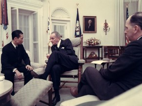 Bui Diem with President Lyndon Johnson a few days following the 1968 Tet Offensive