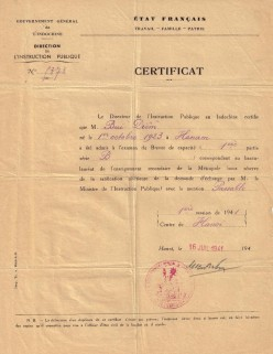 Certificate from the Director of Public Education in Indochina
