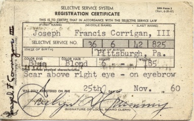 An American selective service registration certificate